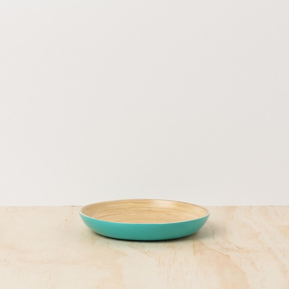 Turquoise Lacquer Bamboo Tray - Small