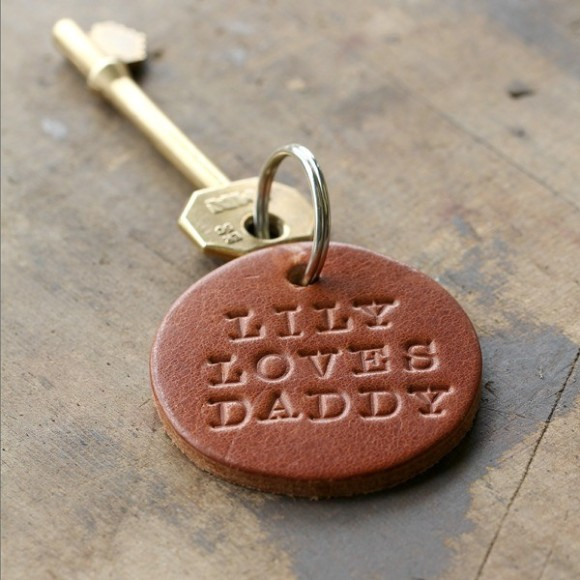 Personalised Leather Round Keyring in Tan