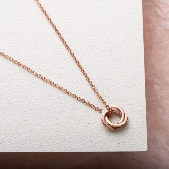 Petite Russian Ring Necklace in rose gold plate