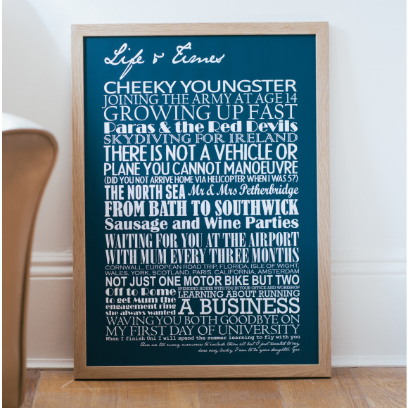 Large Personalised Memories print - navy