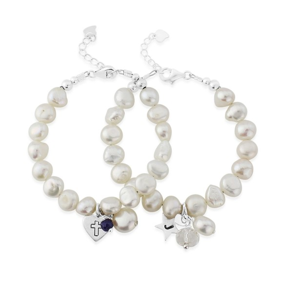 childs white freshwater pearl bracelet with sterling silver charm and gemstone birthstone