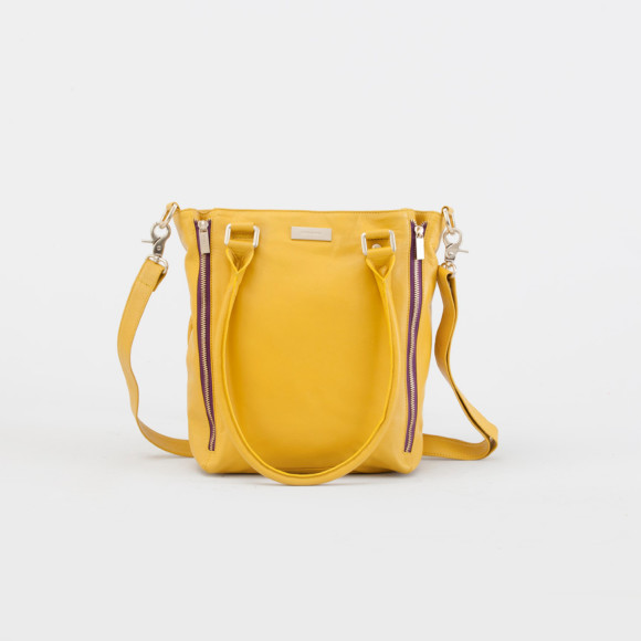 Nellie tote bag in mustard with contrast plum zipper casing and lining
