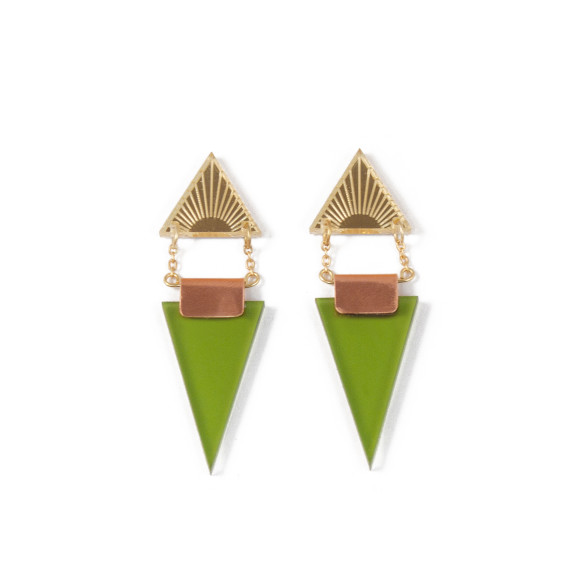 Double Triangle Earrings - Gold / Olive