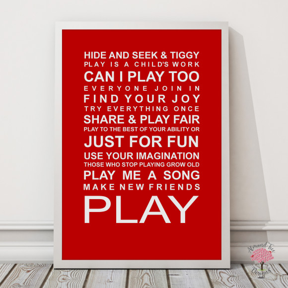 Expressions of your childhood playroom rules print in Red, with optional Australian-made white timber frame