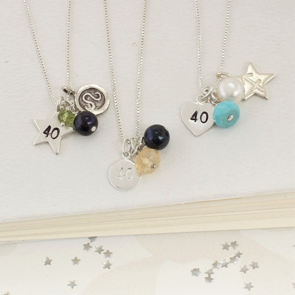 40th birthday necklace personalised with green peridot (august) yellow citrine (november) and turquoise (december)