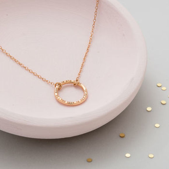 Personalised Full Circle Necklace in 18ct rose gold plate