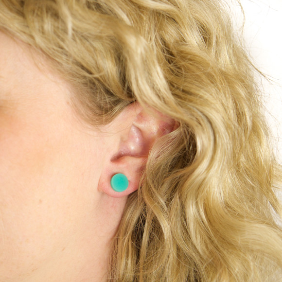 GEO - Circle Earring Studs in Aqua Green