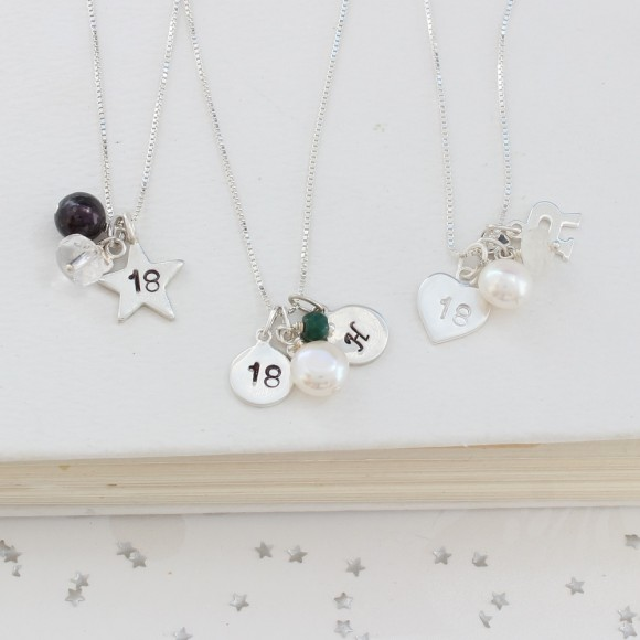 18th birthday necklace with rock crystal (april) emerald (may) and moonstone (june)
