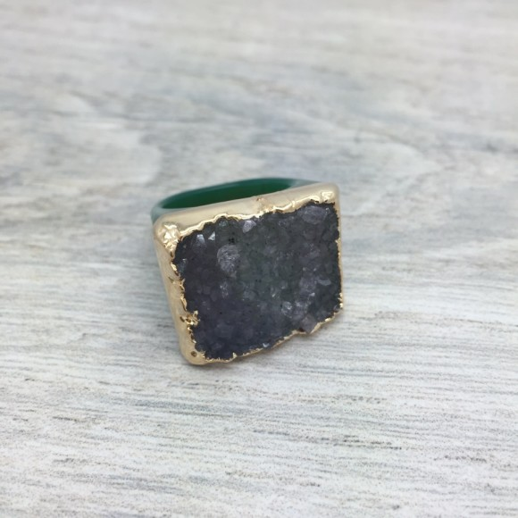 Green Hand Carved Druzy Ring