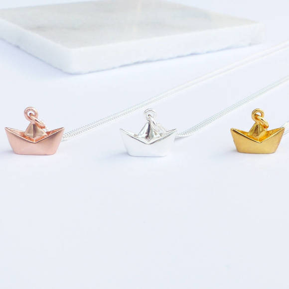 Sterling silver origami boat necklace