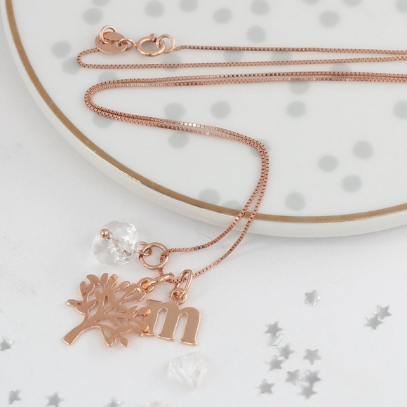 mini rose gold tree of life charm necklace with April birthstones