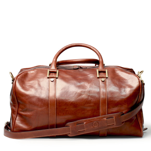 Small leather luggage bag in chestnut brown