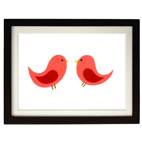 Twin red birds mocha frame