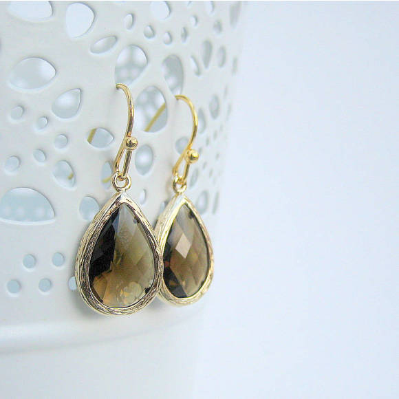 Faceted Glass Teardrop Earrings Smokey Quartz