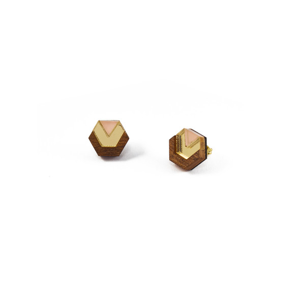 Little Hex Studs - Wood / Gold / Peach
