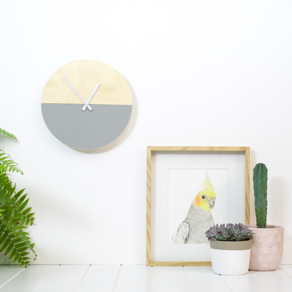 Half moon wall clock in grey 30cm