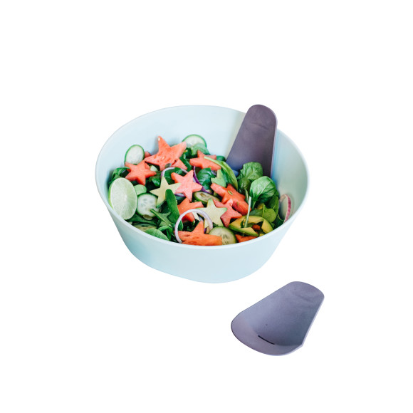 Mint Salad Bowl- Eggplant Coloured Servers Included.
