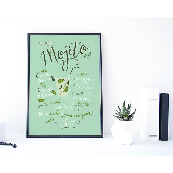 Personalised mojito cocktail art print
