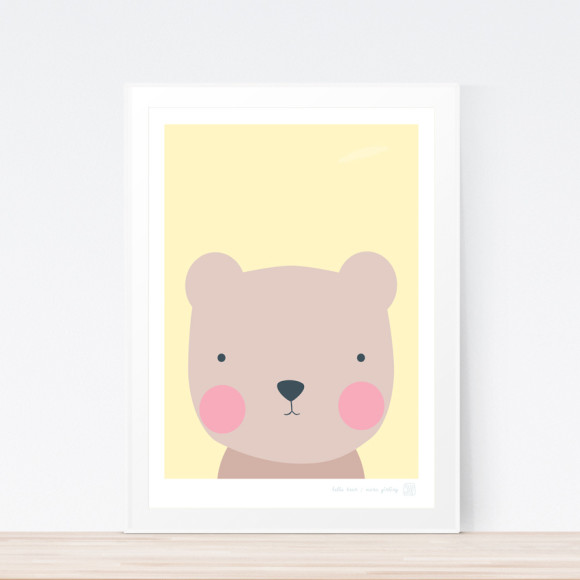 Hello Bear Art Print (Framed)