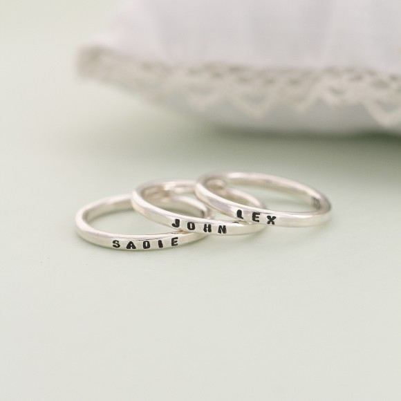 Personalised Sterling Silver Stacker Ring in silver with black polish text finish