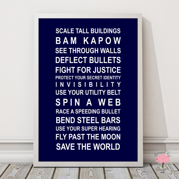 Superheroes print in Navy, with optional Australian-made white timber frame