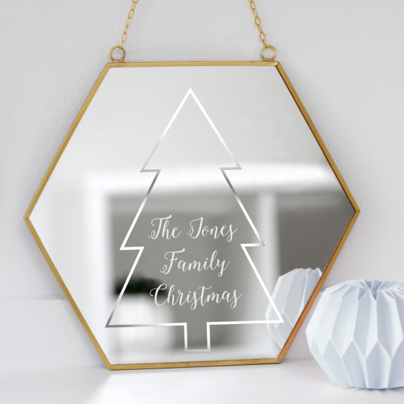 Personalised Christmas Mirror With Traditional Tree