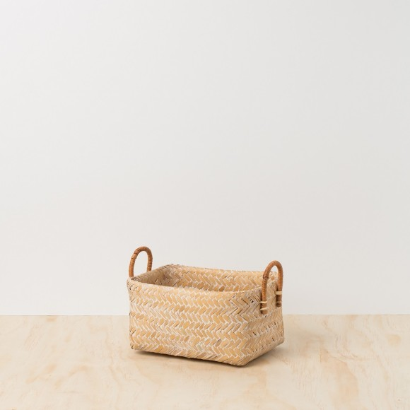 Bamboo Basket -Double Layer White-washed with Rattan Handle - Small