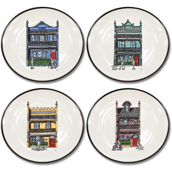Set of 4 Canapé plates