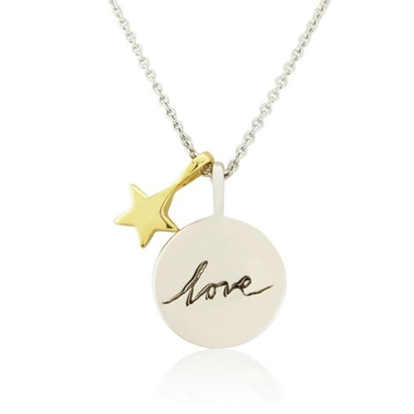 Star and Love Pendant on 18
