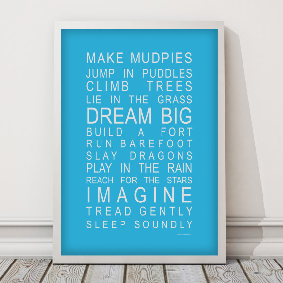 Dreams for Your Boy Print in Sky Blue, with optional Australian made white timber frame