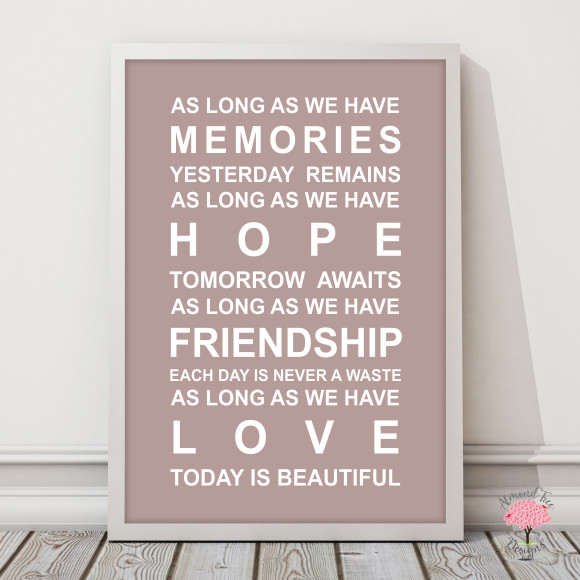Memories Print in Dusky Pink, with optional Australian-made white timber frame