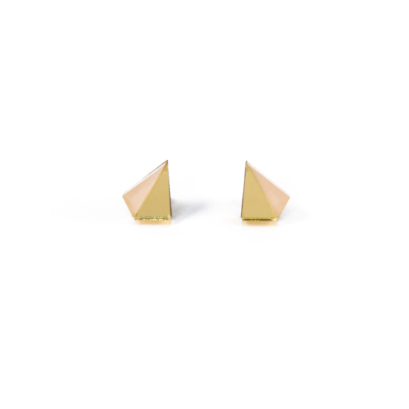 Little Pyramid Studs - Gold / Peach