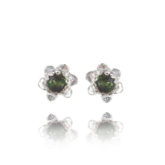 forget-me-not studs silver & green tourmaline