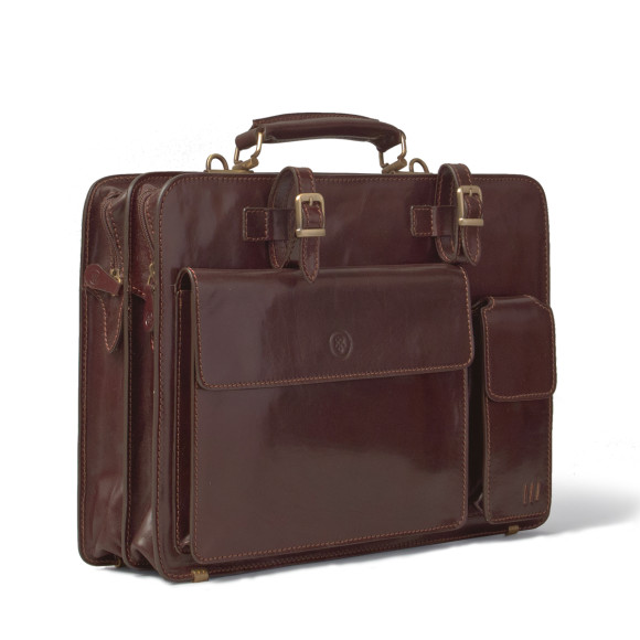 Chocolate brown leather briefcase