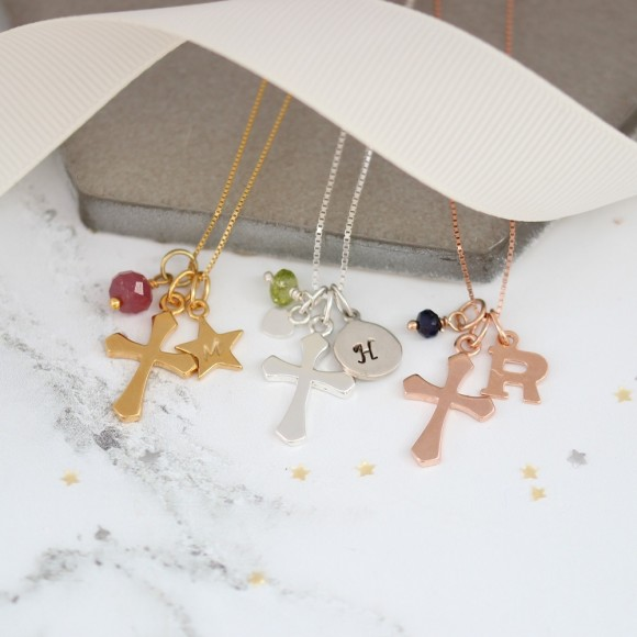 personalised cross in sterling silver, rose gold or gold with july, august and september birthstones