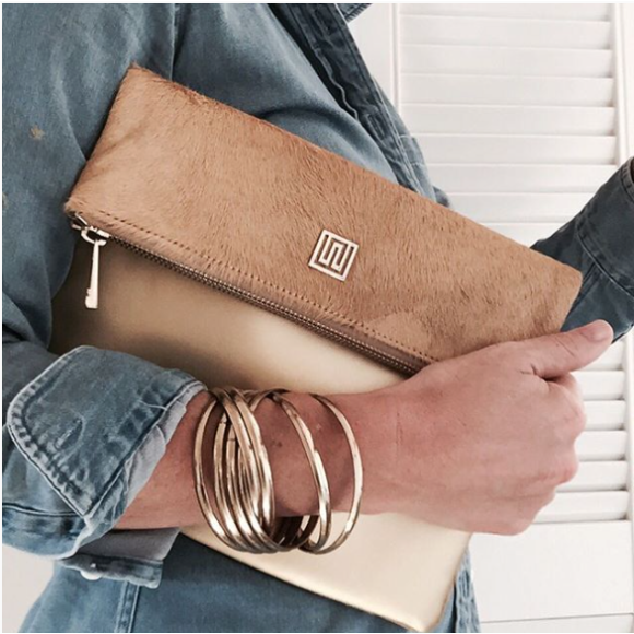 100% Nappa Leather Cowhide and Calf hair Clutch