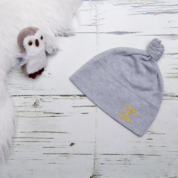 baby grey cotton top knot hat - yellow logo