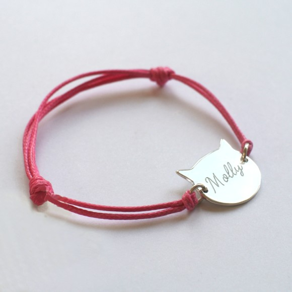 Frida Cat Face Bracelet  pink, reverse