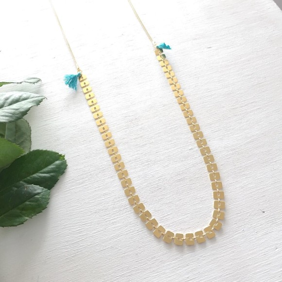 Bamboo Tassel Necklace Turquoise Gold