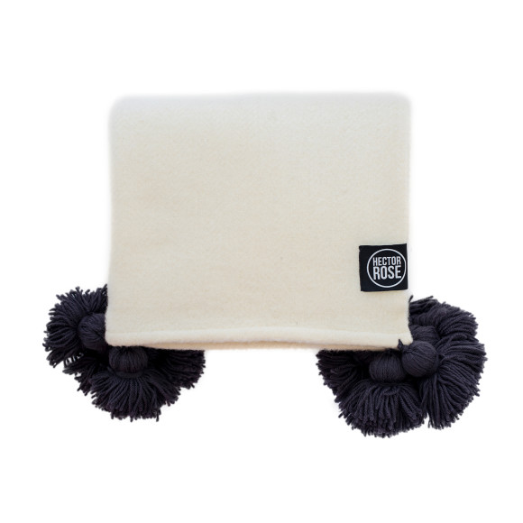 Hector Rose Pom Pom Merino Wool Throw Rug in Natural