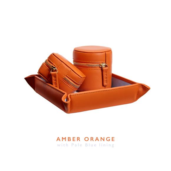 Orange Mens Leather Travel Gift Set