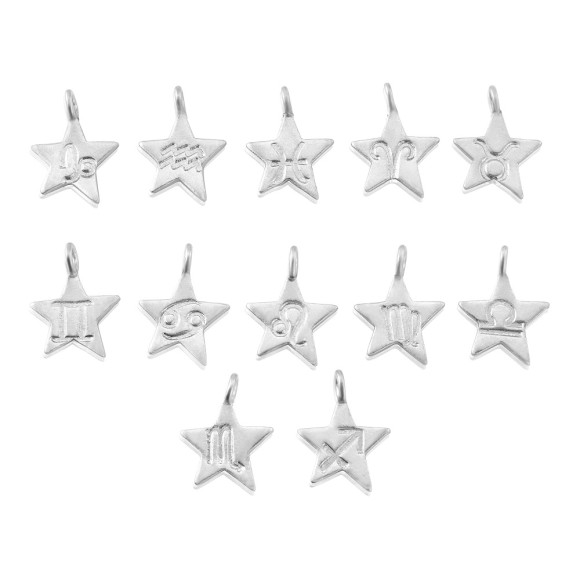sterling silver zodiac star sign charm