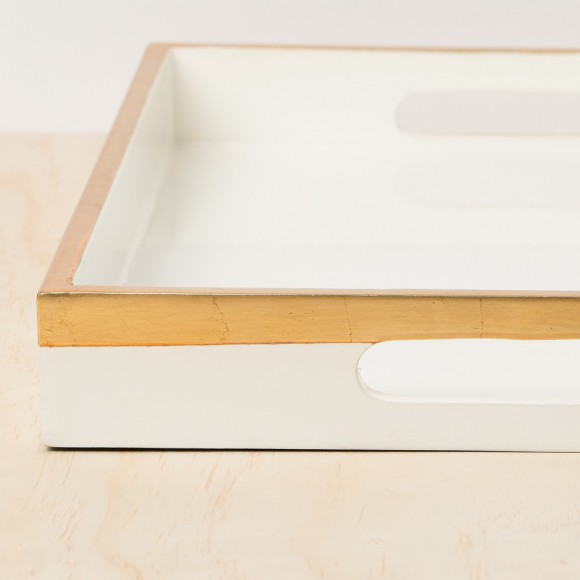 White & Gold Lacquer Tray