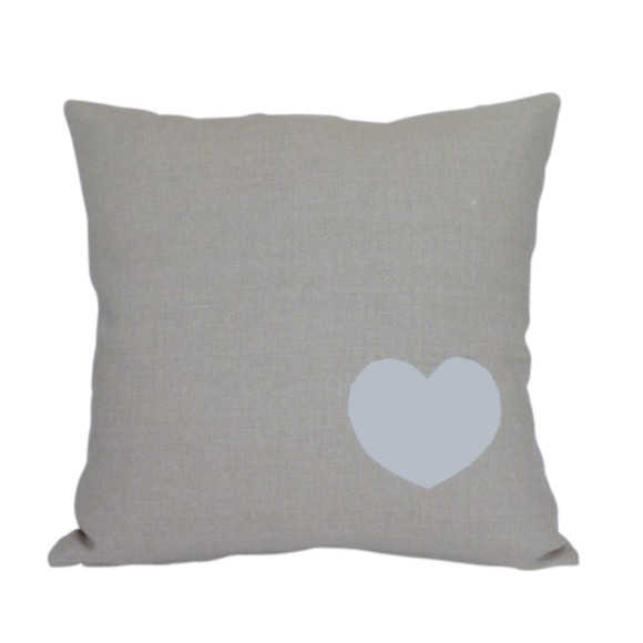 Heart Print Natural Linen Cushion Cover Hardtofind