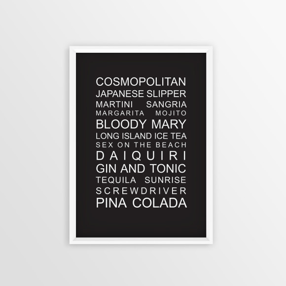The perfect party list cocktail print in Black, with optional Australian-made white timber frame