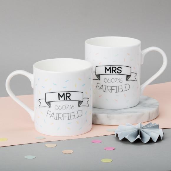Personalised Pair Of Wedding Banner Mugs