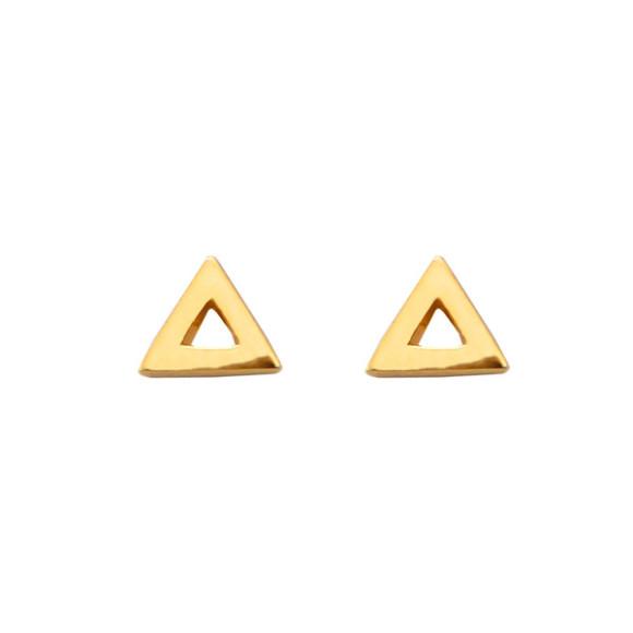 triangle stud earrings 14k gold