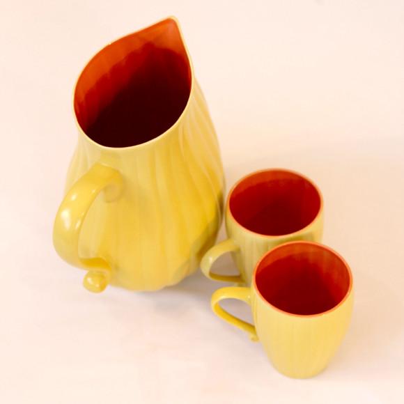 Joan Jug & Mugs Yellow