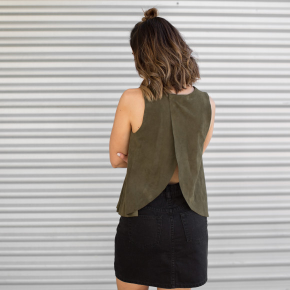 2NDSKIN Grace Suede Open Back Top