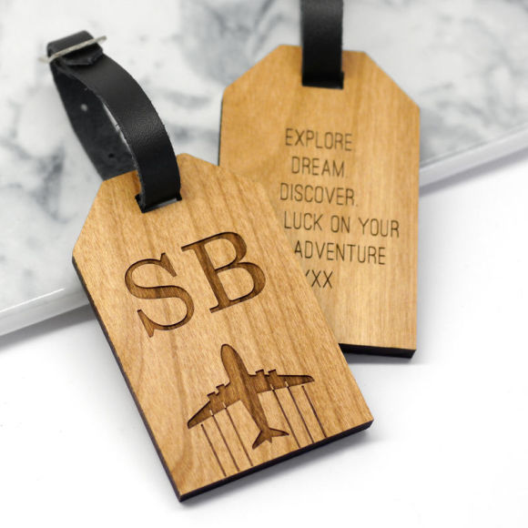 initial luggage tag alderwood